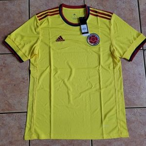 3 left  Adidas Colombia Home Soccer Jersey